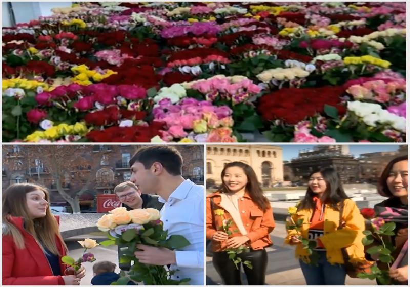 «Գ. Ծառուկյան» հիմնադրամը 1000-ավոր ծաղիկներ է նվիրել Երևանի կանանց և աղջիկներին