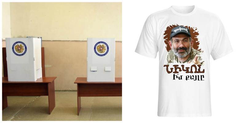 Էջմիածնում քաղաքացին  ընտրատեղամաս է գնացել  «Իմ քայլը» գրառմամբ շապիկով