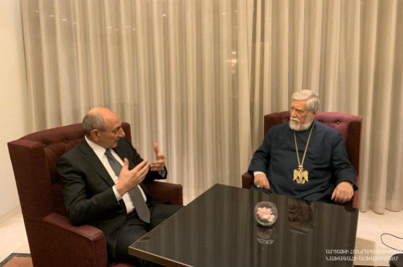 Բակո Սահակյանը Բրյուսելում հանդիպել է Արամ Ա Կաթողիկոսի հետ