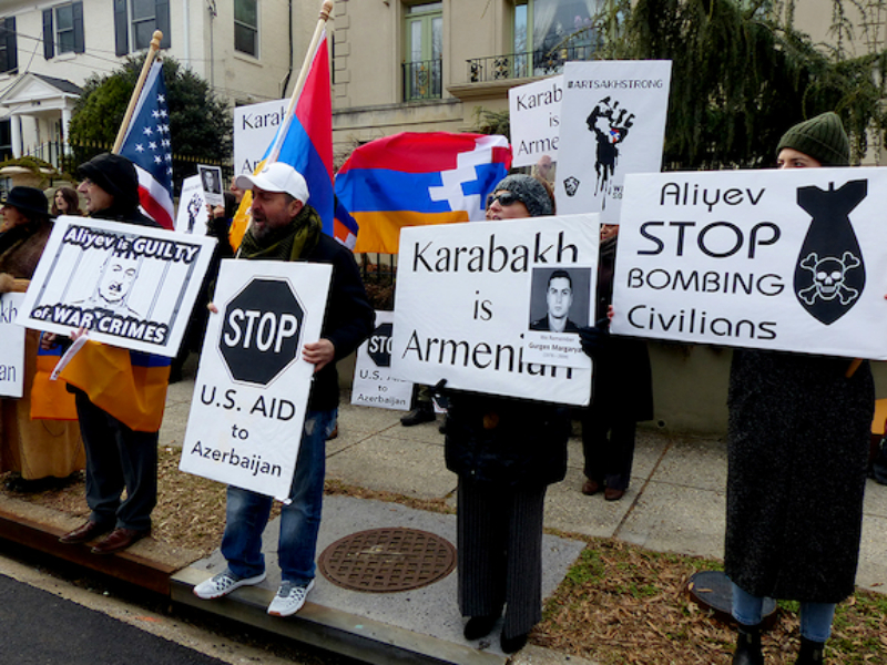 Վաշինգթոնի հայ համայնքը բողոքի ակցիա է իրականացրել Ադրբեջանի դեսպանատան դիմաց