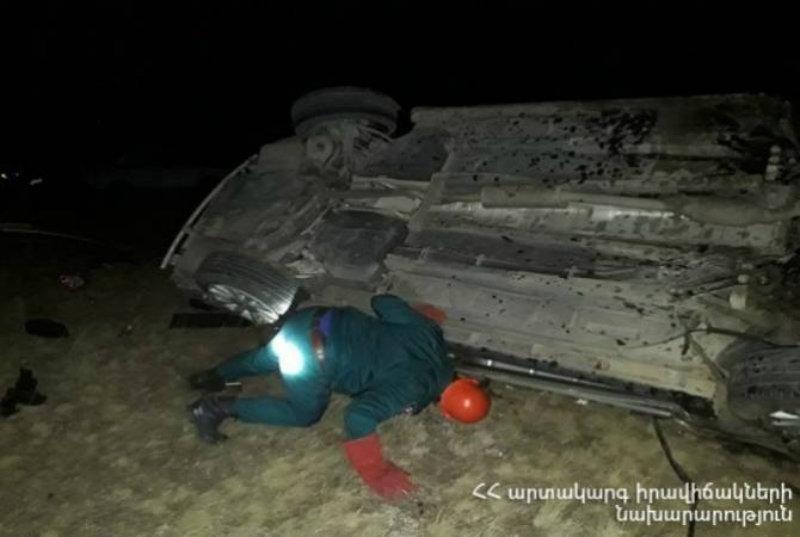 Մեկ զոհ, երկու վիրավոր՝ Գորիս-Երևան ավտոճանապարհին ավտոմեքենայի կողաշրջվելու հետևանքով