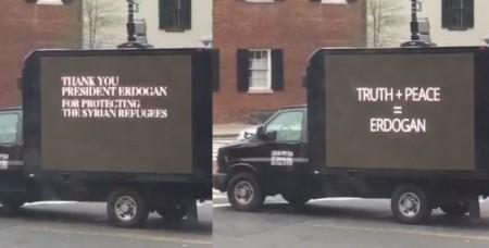 Բեռնատար ավտոմեքենաներով Էրդողանի գովազդ Վաշինգտոնի փողոցներում