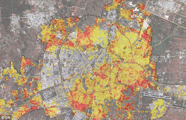 Հալեպի քարտեզը. կարմիրը՝ 100 տոկոսով ավերվածն է