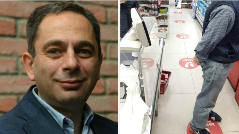 Երևանի սուպերմարկետները «գծանշումներ» են կատարում, որ հաճախորդները հերթում պահպանեն սոցիալական հեռավորությունը