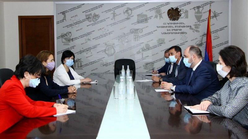 ԿԳՄՍ նախարարն ընդունել է Հայաստանում ՄԱԿ-ի մանկական հիմնադրամի նորանշանակ ներկայացուցչին