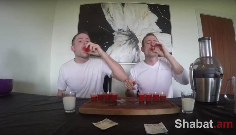 Խնդրում ենք տանը չկրկնել. եղբյարները 130 կծու պղպեղից հյութ են խմում (տեսանյութ)
