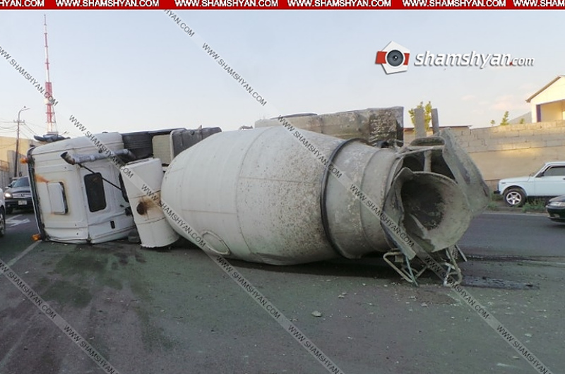 Երևանում հեռուստաաշտարակի հարևանությամբ կողաշրջվել է ցեմենտ տեղափոխող բեռնատարը. Shamshyan.com