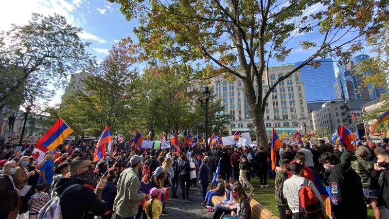 Մոնրեալում հայերը բողոքի ցույց են անցկացրել ընդդեմ Ադրբեջանի․ ցույցին մասնակցել է նաև կանադացի պատգամավոր