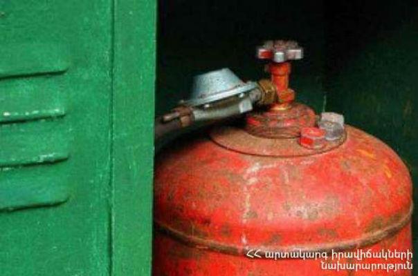 Կոտայքի մարզում բնակարաններից մեկում գտնվող 3 կգ-անոց գազի բալոնից տեղի է ունեցել գազի արտահոսք՝ հրդեհի բռնկմամբ