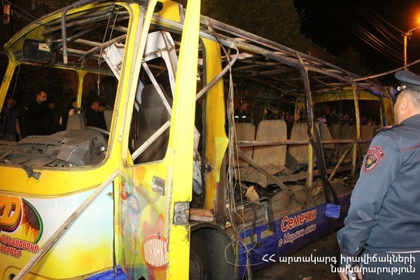 ԱԻՆ-ը Հալաբյան փողոցում ավտոբուսի պայթյունից նոր տվյալներ է հրապարակել. կա 2 զոհ, 8 տուժած