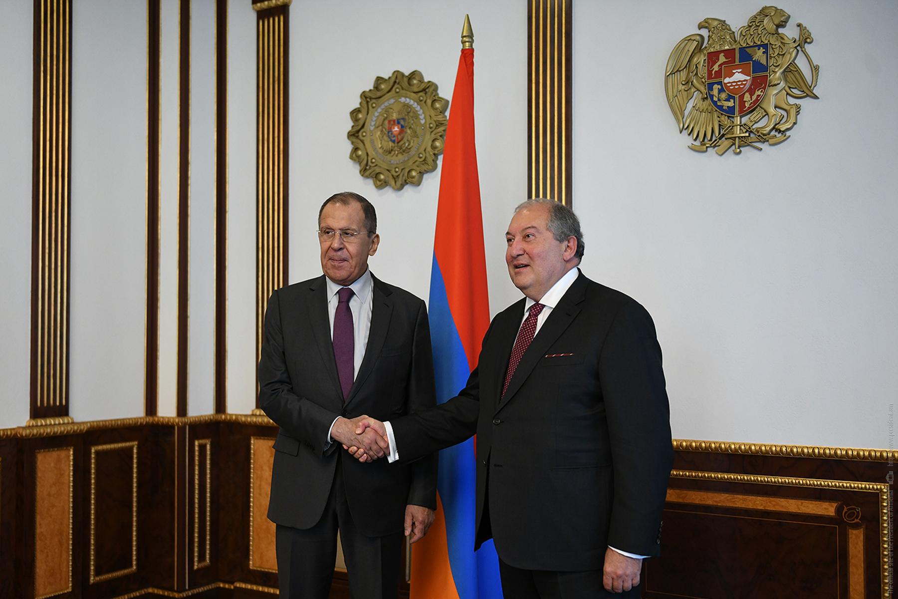 Նախագահ Արմեն Սարգսյանը հյուրընկալել է ՌԴ ԱԳ նախարար Սերգեյ Լավրովին