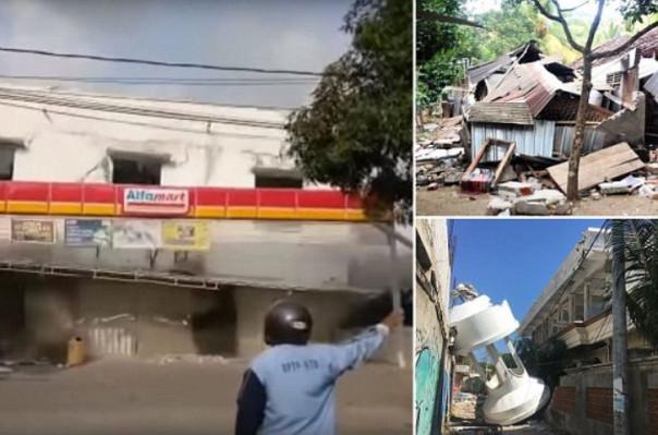 Ինդոնեզիայում երկրաշարժի հետևանքով առևտրի կենտրոնը վայրկյանների ընթացքում հողին է հավասարվել