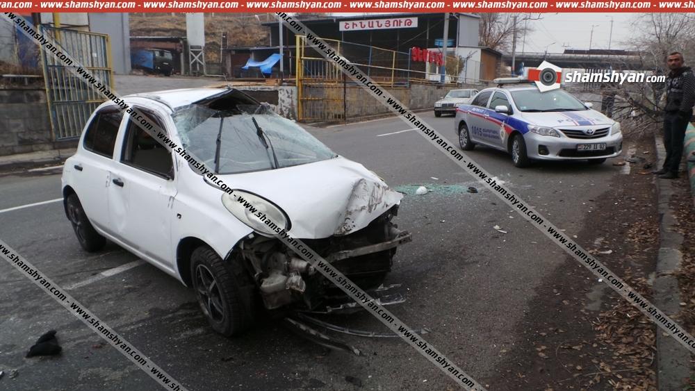 Nissan March-ը Երևանում բախվել ծառին, հետո՝ գազատարին. կա 4 տուժած