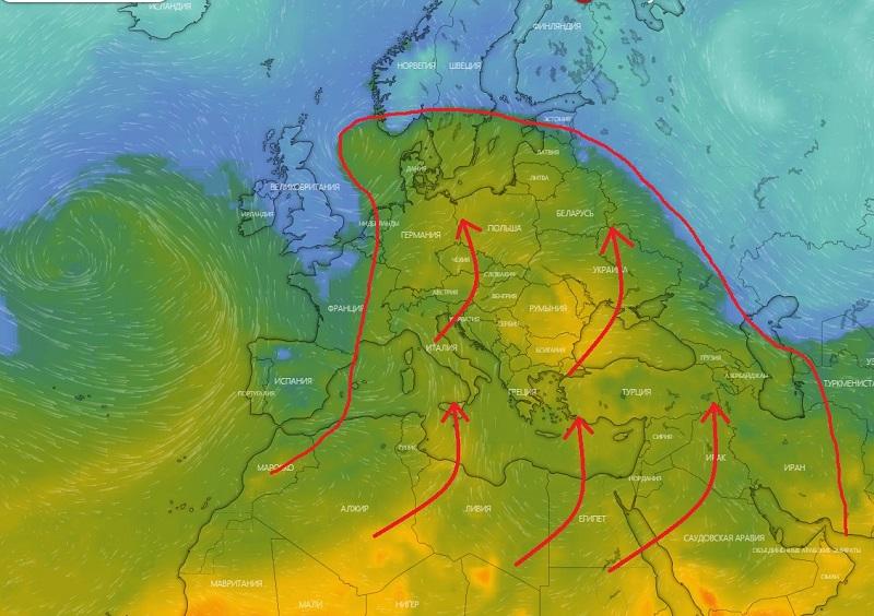Սահարա անապատից սկիզբ առնող տաք օդի հզոր ալիքը դեկտեմբերի 14-ից սկսում է տեղաշարժվել հյուսիս. Սուրենյան