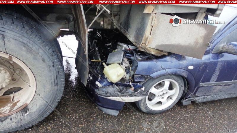 Երևան-Սևան ավտոճանապարհին Opel-ը մխրճվել է բեռնատար ЗИЛ-ի մեջ