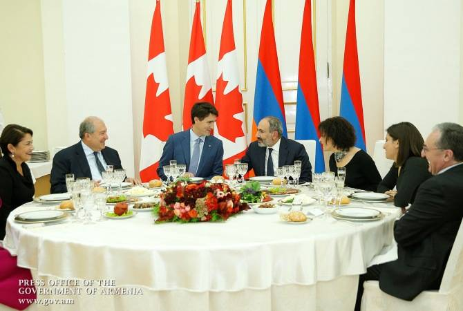 Փաշինյանի անունից` ի պատիվ Կանադայի վարչապետի, տրվել է պաշտոնական ընթրիք (լուսանկարներ)