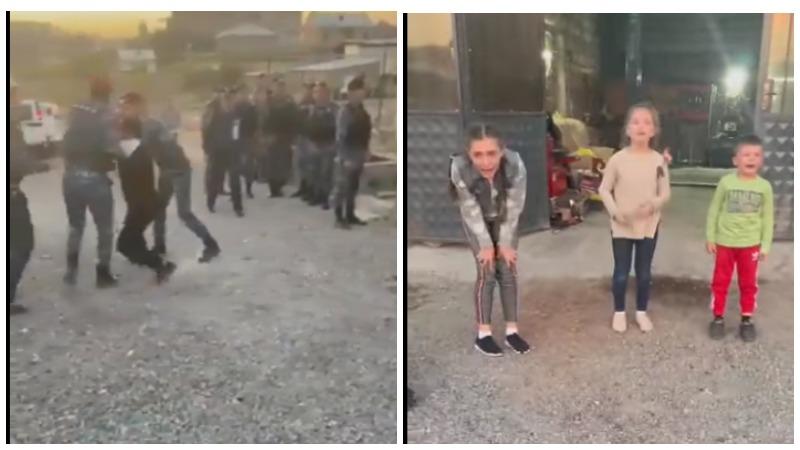 Ոստիկանները երեխաների աչքերի առջև հարվածելով և քաշքշելով տանում են հայրիկին (տեսանյութ)