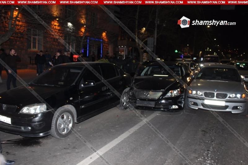 Շղթայական ավտովթար Երևանում․ Lexus-ը բախվել է 2 հատ BMW-ի, Nissan-ի, Opel-ի եւ Mercedes-ի