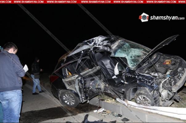 Երևան-Երասխ ավտոճանապարհին ավտոմեքենան բախվել է գովազդային վահանակին. վարորդը տեղում մահացել է