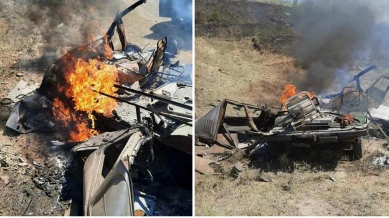 ԱԻՆ մեքենան՝ հակառակորդի ԱԹՍ-ի հարվածից հետո (լուսանկարներ)