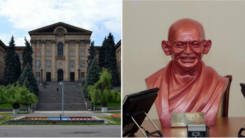 «Ջայ Ջագաթ 2020» քայլարշավի ներկայացուցիչները Ազգային ժողովի թանգարանին են նվիրել Մահաթմա Գանդիի կիսանդրին