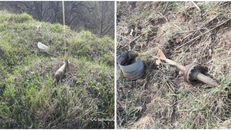Կապան-Գորիս ավտոճանապարհի մոտակայքում հայտնաբերվել են հակատանկային արկեր և ականանետի ականներ. ԱԻՆ (լուսանկարներ)