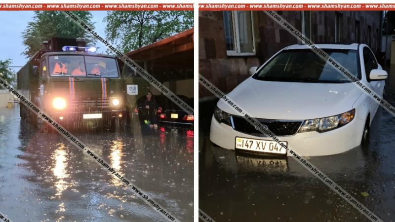 Հորդառատ անձրևի պատճառով անանցանելի է դարձել ՀՀ վարչապետի աշխատակազմի գործերի կառավարչության տրանսպորտային բաժնի վարչական տարածքը (լուսանկարներ)