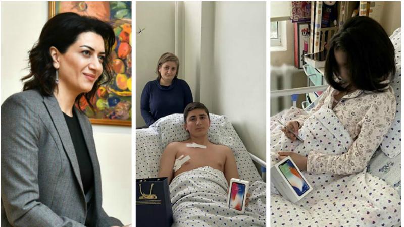 Աննա Հակոբյան նվերներ է ուղարկել Ոսկեվանում հակառակորդի կրակոցից վիրավորում ստացած տղային և Գյումրիում շաբաթներ առաջ բռնության ենթարկված աղջնակին