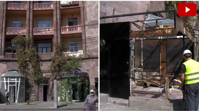 Երևանում ապամոնտաժվել է ճարտարապետական արժեք ներկայացնող շենքի տեսքը աղավաղող կրպակը (տեսանյութ)