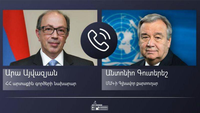 Արա Այվազյանը և ՄԱԿ-ի Գլխավոր քարտուղարը քննարկել են տարածաշրջանի համար թուրք-ադրբեջանական ագրեսիայի հետևանքները