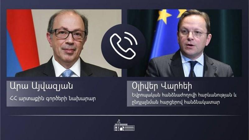 Արա Այվազյանը հեռախոսազրույց է ունեցել Եվրոպական հանձնաժողովի հարևանության և ընդլայնման հարցերով հանձնակատար Օլիվեր Վարհեիի հետ