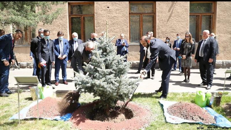 Արարատ Միրզոյանը և Ֆրանսիայի Սենատի նախագահը ԱԺ այգու Խոսնակների ծառուղում տնկեցին մշտադալար եղևնի