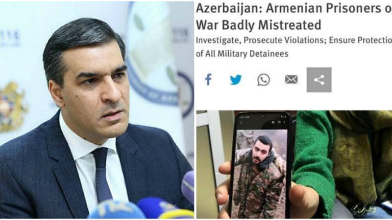 Ըստ Human Rights Watch-ի՝ հայ գերիները ենթարկվել են բռնության ու նվաստացման․ Արման Թաթոյան