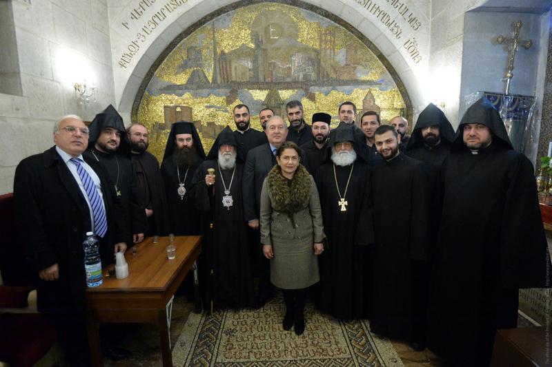 Արմեն Սարգսյանը և տիկին Նունե Սարգսյանն Երուսաղեմում այցելել են Սուրբ Հարության տաճար