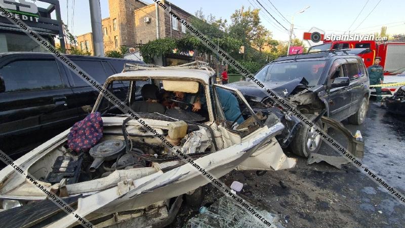 Խանջյան փողոցում բախվել են 2 Nissan X-Trail-ը, Mitsubishi-ն, Infinti-ն, Honda CRV-ն և 06-ը. կան վիրավորներ