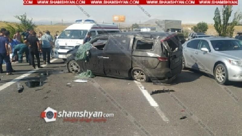 Խոշոր ու ողբերգական ավտովթար՝ Երևան-Սևան ճանապարհին. բախվել են Honda Elysion-ն ու Toyota Camry-ն. կա 1 զոհ, 1 վիրավոր
