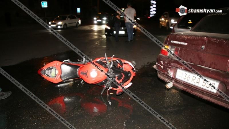 «Հաղթանակ» զբոսայգու դիմաց բախվել են Opel մակնիշի ավտոմեքենան և մոտոցիկլը. մոտոցիկլավարը հոսպիտալացվել է