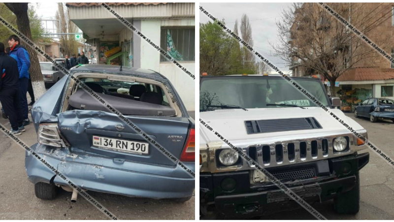 Աշտարակում իրար են բախվել Hummer և Opel մակնիշի ավտոմեքենաները․ Opel-ի վարորդը մարմնական վնասվածքներով հոսպիտալացվել է