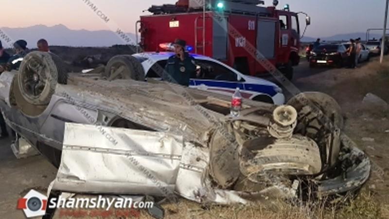 Խոշոր ավտովթար Կոտայքի մարզում. մեքենան բախվել է քարերին և գլխիվայր շրջվել