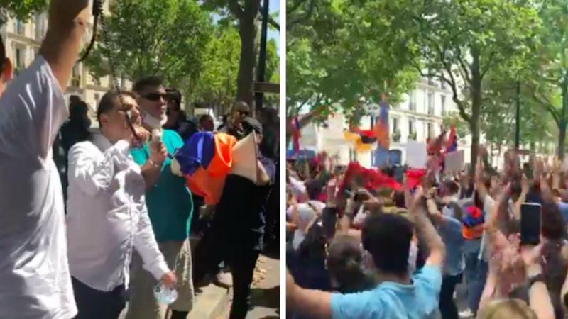 Հայերը Փարիզում բողոքի ակցիա են արել՝ ընդդեմ ադրբեջանական սադրանքների (տեսանյութ)