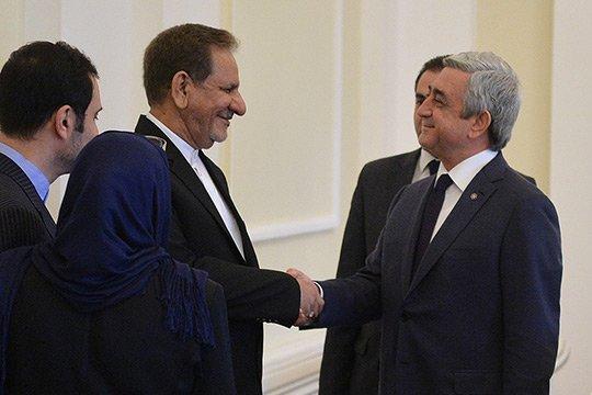 Սերժ Սարգսյանն ընդունել է Իրանի Նախագահի առաջին տեղակալի գլխավորած պատվիրակությանը