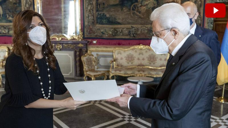 Իտալիայում ՀՀ նորանշանակ դեսպանը իր հավատարմագրերը հանձնել է Իտալիայի Հանրապետության նախագահին (տեսանյութ)
