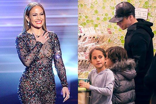 Կասպեր Սմարթը հոգ է տանում Ջենիֆեր Լոպեսի երեխաների մասին, մինչ երգչուհին բեմում է
