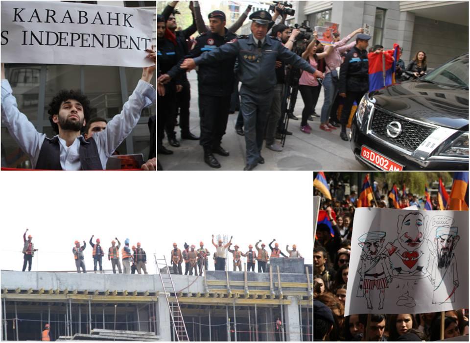 Ինչպես ՀՀ քաղաքացիներ ԵԱՀԿ համանախագահաներին դիմավորեցին բողոքի ցույցով (ֆոտո)
