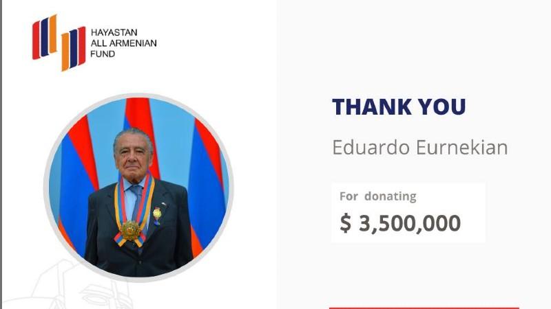 Էդուարդո էռնեկյանը նվիրաբերել է 3,5 մլն ԱՄՆ դոլար
