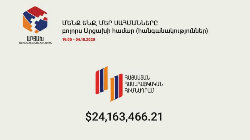 «Հայաստան» համահայկական հիմնադրամի հաշվին որպես Արցախին օժանդակություն փոխանցվել է ավելի քան 24 մլն ԱՄՆ դոլլար