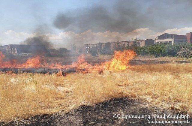 Արայի լեռան ստորոտում այրվել է 20 հա խոտածածկույթ