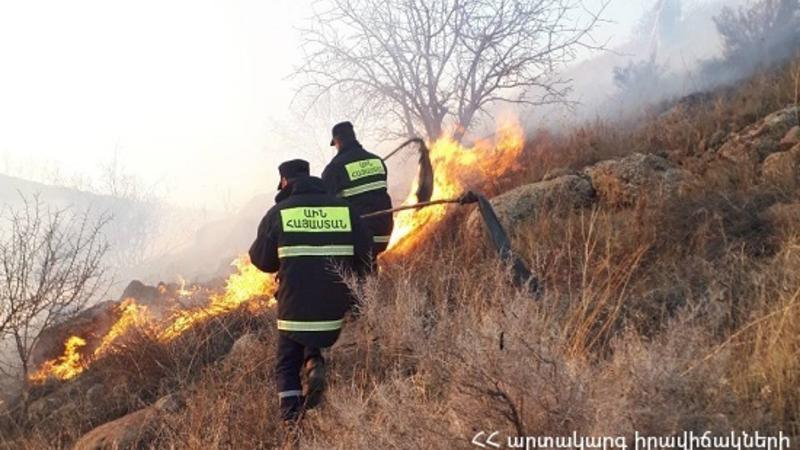 Հրդեհ Գյումրի քաղաքում․ այրվում է մոտ 10 հա խոտածածկույթ