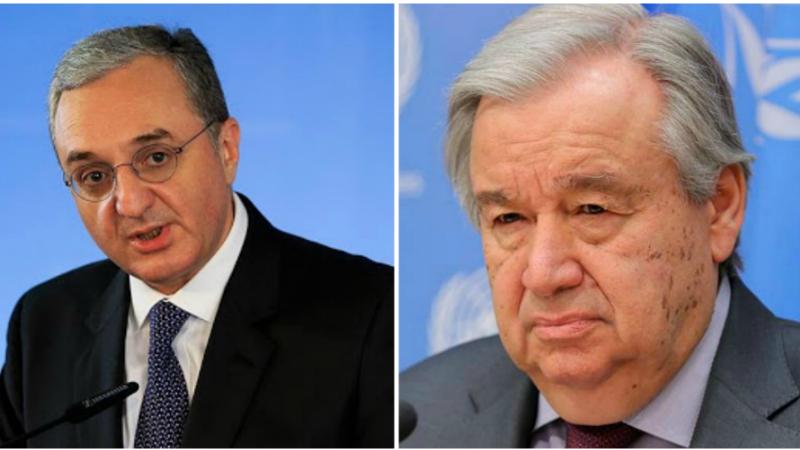 Զոհրաբ Մնացականյանի հեռախոսազրույցը ՄԱԿ-ի Գլխավոր քարտուղար Անտոնիո Գուտերեշի հետ