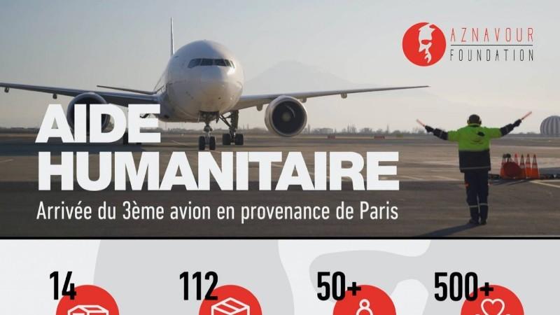 Երևանում վայրէջք կատարեց Փարիզից մարդասիրական օգնություն փոխադրող երրորդ ինքնաթիռը
